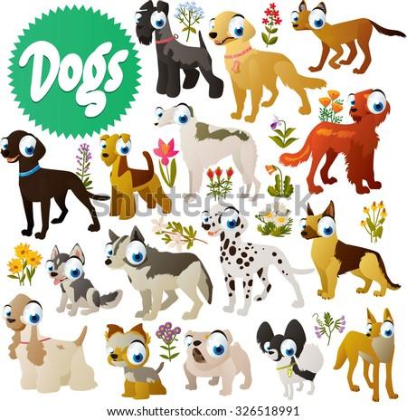 simple cute dog breeds cartoon images: carry blue, retriever, setter, labrador, borzoi, airedale, dalmatian, husky, cocker, spaniel, yorkshire, terrier, shepherd, spitz, bulldog, dingo - stock vector