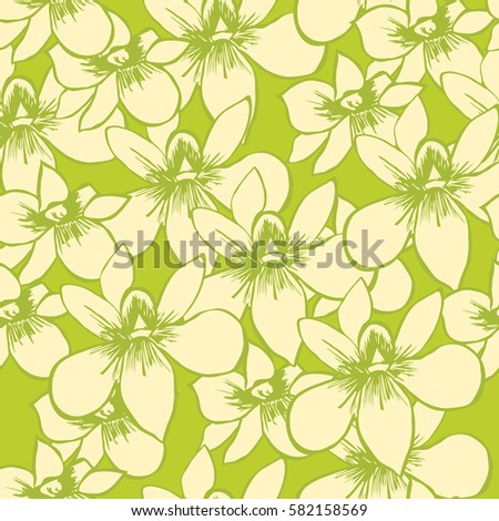 Simple cute pattern in small-scale orchid. Millefleurs. Floral seamless background for textile or book covers, manufacturing, wallpapers, print, gift wrap and scrapbooking.  Spring background