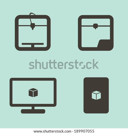 Simple 3D Printing Icons Set in Grays on a Blue Background with Printer, Computer Monitor and Cube Project. Vector Illustration - stock vector