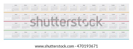 simple design basic calendar year 2017 stock vector 470193671