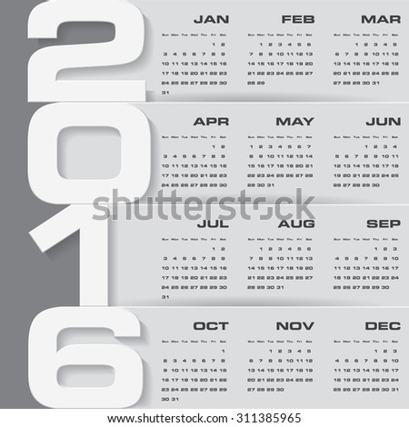 Simple design calendar 2016 year vector design template.12 months from January-December 2016