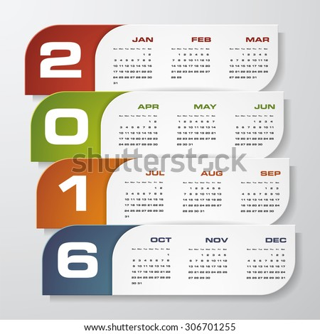 Simple design calendar 2016 year vector design template.12 mounts from January-December 2016 - stock vector