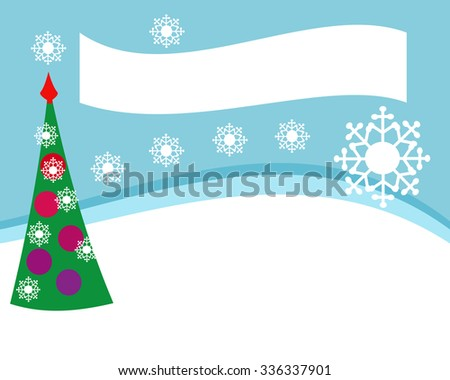 Simple design for the Christmas offer of goods or flyer, landscape,  with a decorated tree and snowflakes - rectangular format, editable vector illustration. - stock vector