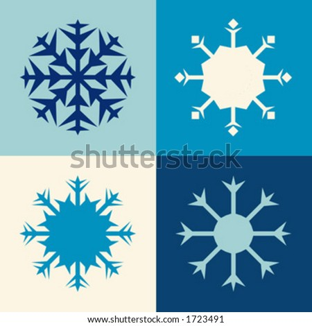 simple design of snowflakes, each flake is grouped and easy to edit and change color - stock vector