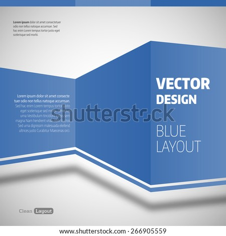 Simple design. Vector layout. Blue spaces on the gray background. - stock vector