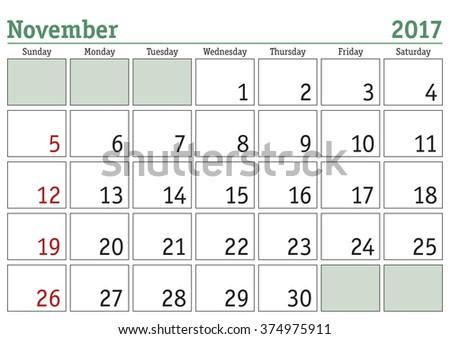 Simple digital calendar for November 2017. Vector printable calendar. Monthly scheduler. Week starts on Sunday. English calendar - stock vector