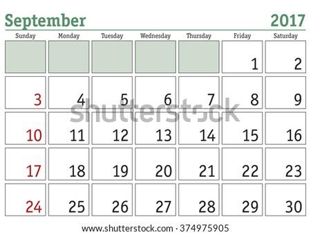 Simple digital calendar for September 2017. Vector printable calendar. Monthly scheduler. Week starts on Sunday. English calendar - stock vector