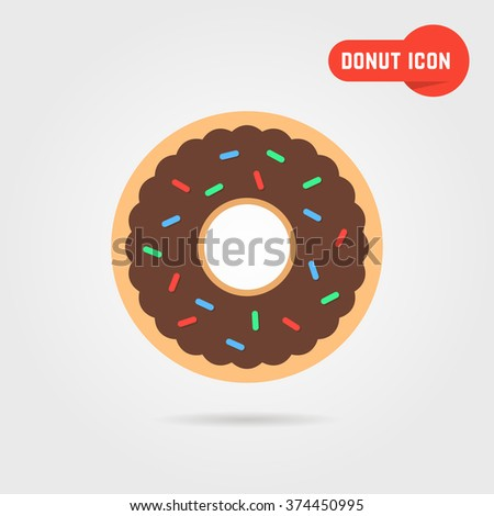 simple donut icon with shadow. concept of donut emblem, yummy donut, donut topping, donut pie. donut icon isolated on gray background. flat style trend modern donut logo design vector illustration - stock vector