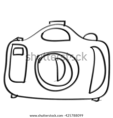 simple doodle line art photo camera isolated on white background - stock vector