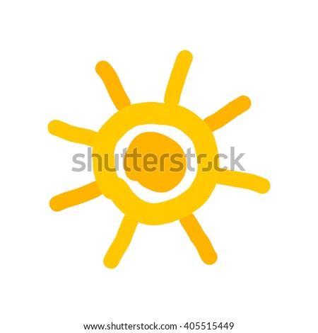 Simple doodle sun painted - stock vector