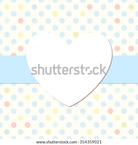 Simple dotted heart photo frame. Cute scrapbook page. Baby shower card. - stock vector