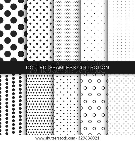 Simple dotted patterns. Seamless vector collection. Black and white texture. - stock vector