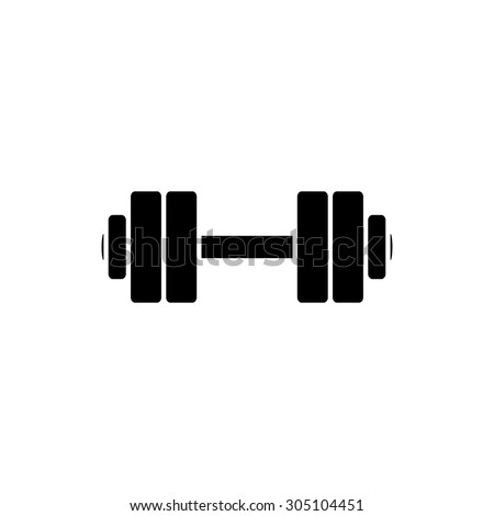 Simple Dumbbell. Black simple vector icon - stock vector