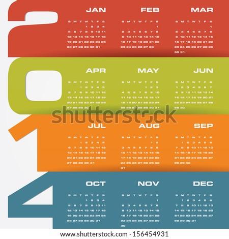 simple editable vector calendar 2014 - stock vector