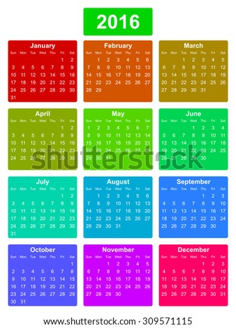 simple editable vector calendar 2016 on colorful background sunday first
