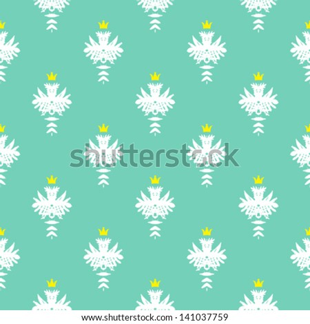 Simple, elegant block printed seamless vector pattern in mint green with little gold crowns. Texture for web, print, wallpaper, home decor, summer fall fashion textile, fabric, website background - stock vector