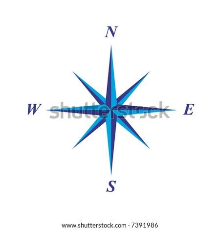 simple elegant compass rose illustration - stock vector