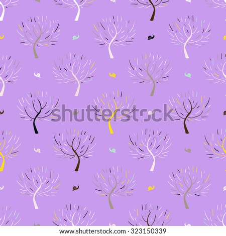 Simple elegant pattern with three silhouettes and snails in pink colors for fall winter fashion or gift wrapping paper. Chic, natural retro style print with woods and bare branches for baby girl room - stock vector
