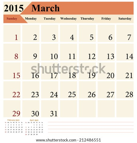 Simple european March calendar grid for 2015 year. Start Sunday Only plain colors - easy to recolor. Vector illustration.  - stock vector