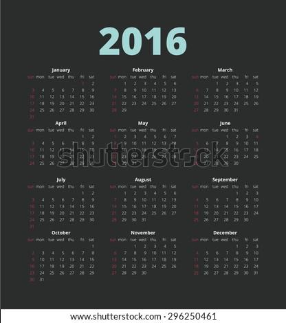Simple european 2016. Week Starts Monday. Simple Vector Template - stock vector