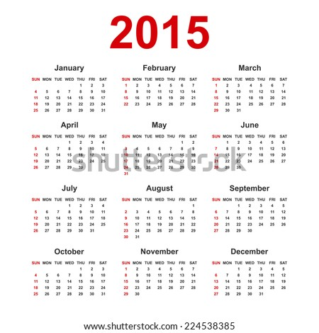 Simple european 2015 year blank calendar with holiday mark for calendar design. Vector illustrations  - stock vector