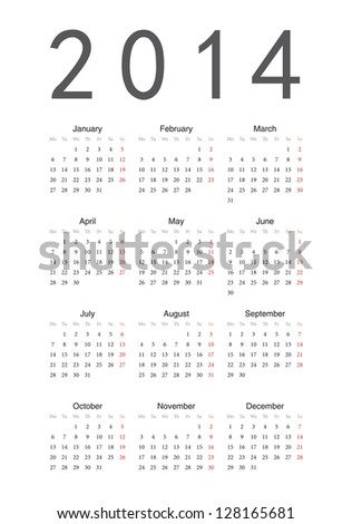 Simple european 2014 year vector calendar - stock vector
