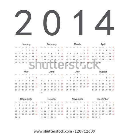 Simple european 2014 year vector calendar - stock vector