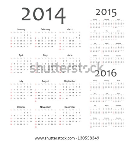 Simple european 2014, 2015, 2016 year vector calendars - stock vector