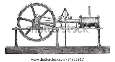 Simple Expansion Steam Engine, vintage engraved illustration. Trousset encyclopedia (1886 - 1891). - stock vector