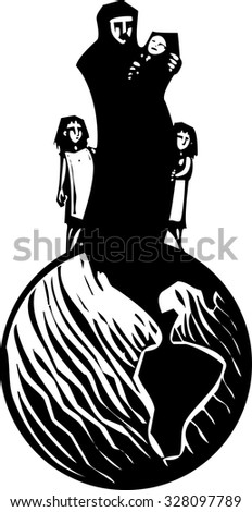 Simple expressionistic woodcut styled image of a mother in hijab hugging an infant with children standing on a globe. - stock vector