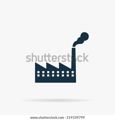 Simple Factory. Flat vector web icon or sign on grey background with shadow. Collection modern trend concept design style illustration symbol - stock vector
