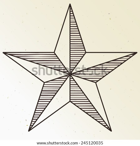 simple five pointed star - stock vector