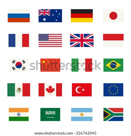 Simple flags icons of the countries in flat style. - stock vector