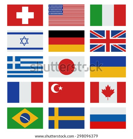 Simple flags of the countries. Flags icons in flat style.  - stock vector