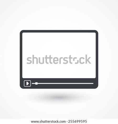 Simple Flat clean video player for web and mobile apps. Vector illustration flat design  - stock vector