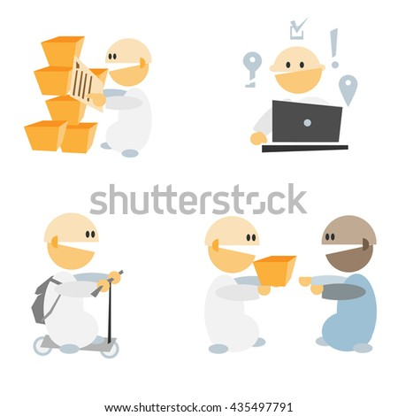 Simple flat design cartoon people set vector illustration. Internet shop team work concept image. Can be use for infographics elements.