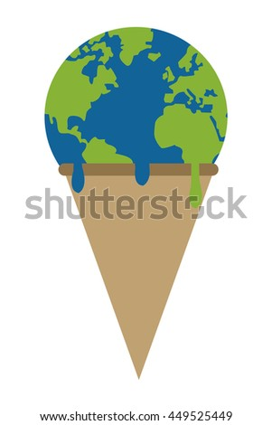simple flat design planet earth ice cream melting icon vector illustration - stock vector