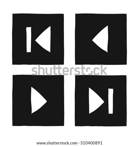 Simple flat hand draw game icons set. For ui, web games, tablets, wallpapers, and patterns. - stock vector