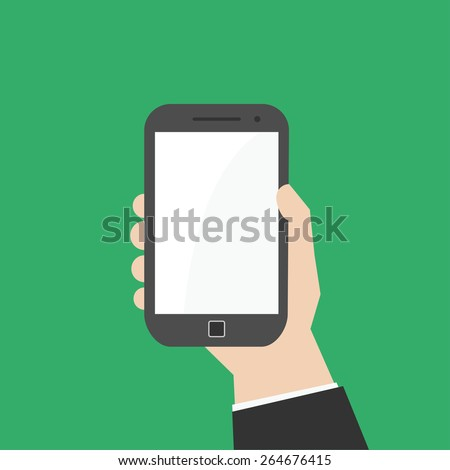 Simple, flat hand holding vertically smartphone or phablet. - stock vector