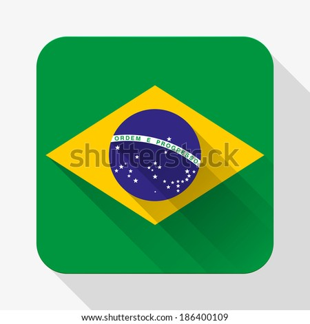 Simple flat icon Brazil flag. Premium basic design with long shadow effect of web design objects. Vector, eps10. - stock vector
