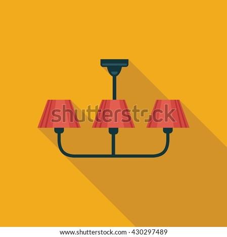 Simple flat icon handing chandeliers. Vector illustration - stock vector