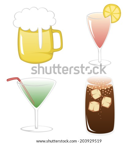 Simple flat illustration of three colorful and popular summertime drinks - beer, cocktails and coke with ice