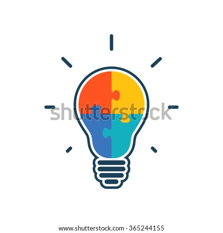 Simple flat light bulb icon with jigsaw puzzle pieces inside. Vector illustration. - stock vector