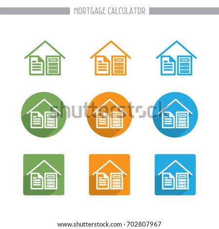 simple flat mortgage calculator icons vector stock vector royalty