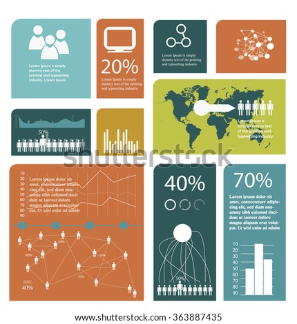 simple flat mosaic infographics template in cube size - stock vector