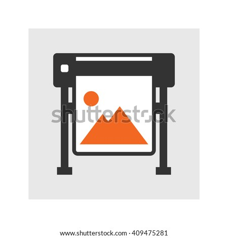 Simple flat plotter print vector icon - stock vector