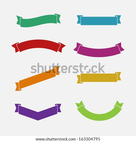 Simple flat Ribbons set - stock vector