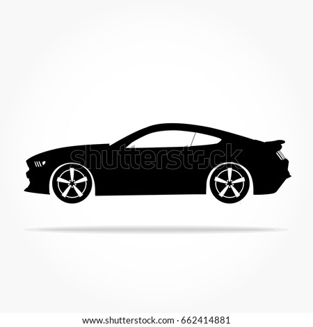 Simple Floating Sports Car Icon Viewed From The Side Colored In Flat Black  With Detailed Rims