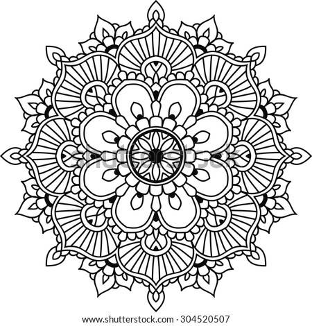 simple floral mandala design mehendi stock vector 304520507 shutterstock. Black Bedroom Furniture Sets. Home Design Ideas