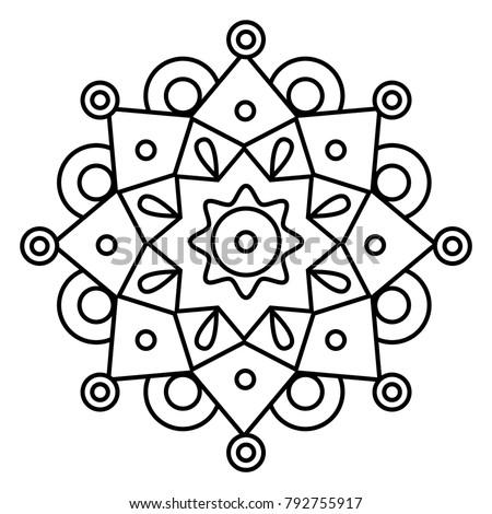 Simple Floral Mandala Print Easy Coloring Stock Vector 792755917 ...